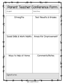 Parent Teacher Conference Form to inform parents about student's progress, strengths, test results, work habits, behavior