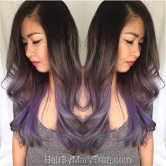 Mary Tran - Santa Monica, CA, United States. Blended purple ombre BALAYAGE highlights on asian hair