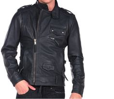 Customize Men Black Biker Leather Jacket With Tab Collar Shoulder Epaulets Belted Waist sold by scorpianshoes. Shop more products from scorpianshoes on Storenvy, the home of independent small businesses all over the world. Biker Leather, Cow Leather, Cowhide Leather, Real Leather, Leather Jacket, Jacket Men, Motorcycle Style, Motorcycle Jacket, Motorcycle Fashion