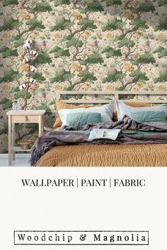 Wallpaper Crane Bird Buttercup Yellow/Cream Crane Bird, Botanical Wallpaper, Statement Wall, Yellow Cream, Eclectic Design, Fabric Online, Buttercup, Fabric Painting, Designer Wallpaper