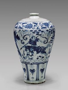 Tall Chinese Yuan-style blue and white porcelain vase; of meiping form, with continuous figural scene of two equestrian warriors through a landscape, with border of lotus above, and lappets below; Porcelain Ceramics, China Porcelain, Ceramic Art, White Ceramics, Blue And White China, Blue China, Vases, Japanese Porcelain, Chinese Ceramics