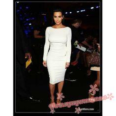 Kim Kardashian long sleeve white dress 2012 BET Awards $99.99 each at Mysupercenter.net