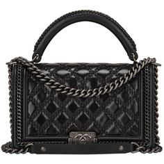 Chanel Black Quilted Shiny Goatskin New Medium Boy Bag With Top Handle (28 530 PLN) ❤ liked on Polyvore featuring bags, handbags, shoulder bags, chanel, purses, handbags and purses, structured shoulder bags, black shoulder handbags, chanel handbags and black purse