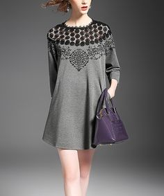 Another great find on #zulily! Alaroo Gray Crochet-Panel Shift Dress by Alaroo #zulilyfinds