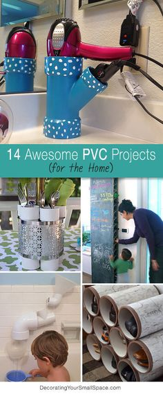 PVC is one of those inexpensive construction materials that is easy to cut, paint, drill, glue and create with. We got inspired by a PVC hair dryer / curling iron holder on Pinterest, and put together this quick DIY project for all of you! Then we found some more DIY PVC projects for you, check these out!