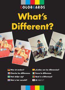 WHAT'S DIFFERENT? 24 paar kleurenfoto's tonen bekende activiteiten betreffende werk, vrije tijd en dagelijkse handelingen. Elke foto van een paar bevat 3 duidelijke verschillen. De leerling moet de verschillen ontdekken en verklaren.