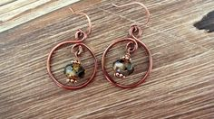 Copper Hoop Earrings Featuring Czech Picasso Beads by ABitOfNature