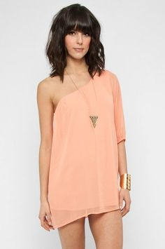 Awesome One Shoulder Chiffon Mini Dress in Peach $33 at www.tobi.com... threads and kicks