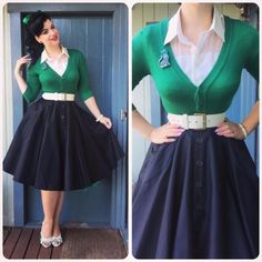 Retro Fashion Get your swing on with a circle skirt! - Pinup fashion is one of those styles that will never get old. Pin Up Vintage, Look Vintage, Vintage Mode, Mode Rockabilly, Rockabilly Fashion, 1950s Fashion, Vintage Fashion, Vintage Outfits, Vintage Dresses
