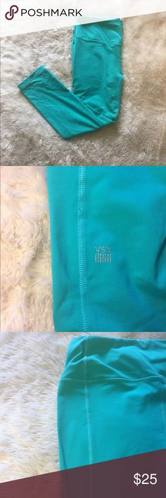 Victoria secret crop workout leggings Super comfy, nice quality athletic workout leggings. Elastic pull waist to ensure right fit. Cute detail seam down the back. Sea foam green/ teal in color. ✨ Victoria's Secret Pants Leggings