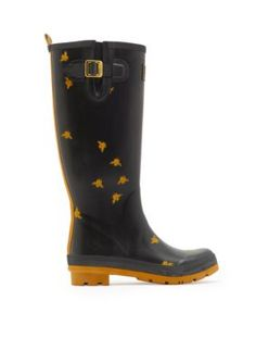Joules Women's Tall Printed Welly Rain Boot - Black Bee - 10M
