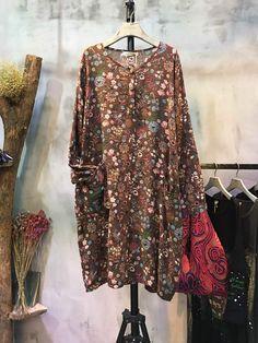 Natural Cotton Linen Floral Dress Loose Comfortable Elderly Dress    #floral #dress #flowers #elderly #senior #cottonlinen #loose #plussize  #online #shopping