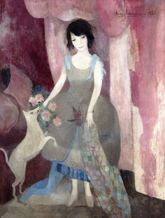 The Athenaeum - Young Woman with Dog (Marie Laurencin - No dates listed)