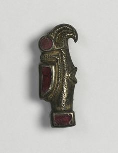 Eagle-Shaped Fibula, 500s Frankish, Migration period, 6th century bronze with traces of gilding and silver, and garnets