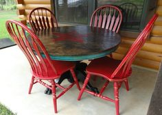 A Very Colorful Dining Set Painted In Red Black And Turqoise Chalk Paint With