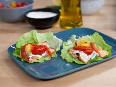 Salmon Gyro with Tomato-Red Pepper Relish and Spicy Herbed Tzatziki recipe from Bobby Flay via Food Network