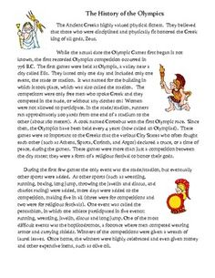 This is a one-page comprehension activity about the history of the Olympic Games. It was designed for students in 3rd-5th grade, but it can be read...