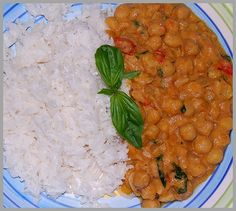 Thai Curried Chick Peas- I'm going to make this and add chicken, and substitute brown rice for white.