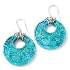 "Sajen Silver by Marianna and Richard Jacobs Carved Turquoise ""Butterfly"" Earrings at HSN.com."