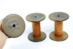 3 Vintage Bobbins  Spools   Beige-green disks   use by PaperPhine