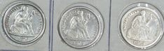 U.S.A(3) COINS LIBERTY SEATED DIME 1876 S XF,1878 VF,1883 AVF 0.9000 SILVER
