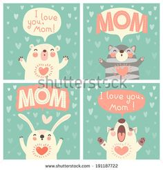 Greeting card for mom with cute animals. Vector illustration. - stock vector