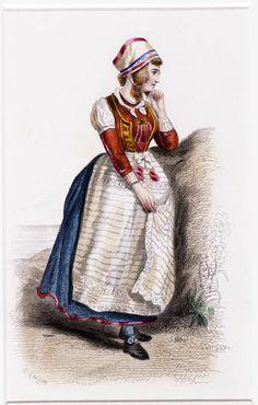 Kleurenlithografie. Geoffroy, C. Voorstelling van een vrouw uit Marken in bruidskleding. Boven de afbeelding: 'Belgique et Hollande no. 5'. Onder de afbeelding: 'Costume de Marigade de l'Ile de Marken (Zuiderée) / Musée de Costumes, No. 370'. Voorts de signatuur. 1850-1900 #NoordHolland #Marken