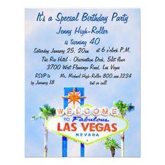 Pretty Las Vegas Birthday Party Blue Sky Sign Card