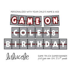 Xbox GAME TRUCK Gamer Birthday Party Personalized Banner - Printable by lulucole on Etsy