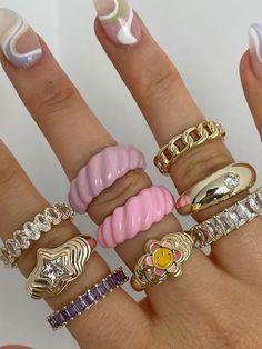hellochic- | VSCO Nail Jewelry, Cute Jewelry, Jewelry Accessories, Jewlery, Jewellery Rings, Funky Jewelry, Trendy Jewelry, Jewelry Trends, Fimo Ring