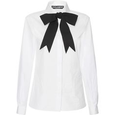 Tops (122.790 HUF) via Polyvore featuring tops, bow neck top, shirt top, bow collar shirt, white top and white shirt