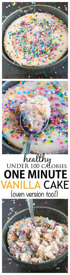 Healthy 1 Minute Vanilla Cake- Less than 100 calories, fluffy and moist- this delicious vanilla cake is gluten free and comes with a tested vegan, high protein and paleo option- Oven version too! (snacks with protein 100 calories) Yummy Snacks, Yummy Treats, Yummy Food, Tasty, Gluten Free Desserts, Healthy Desserts, 100 Calorie Desserts, 100 Calorie Meals, Healthy Recipes Low Calorie
