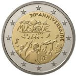 2 euro 30th anniversary of the Day of Music  - 2011 - Series: Commemorative 2 euro coins - France