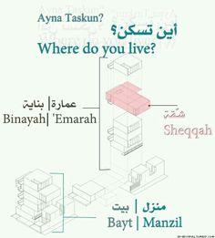 أين تسكن؟  Where do you live?