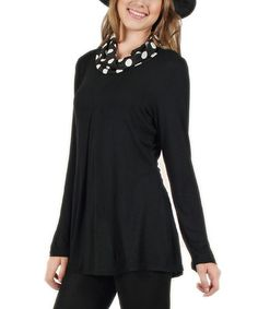 Look at this #zulilyfind! Black & White Dot Cowl Neck Tunic #zulilyfinds