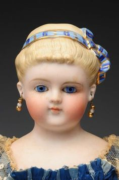Lot # : 59 - Rare Glass Eyed Parian Shoulder Head Doll.
