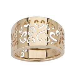 14k Yellow Gold Fancy Heart Ladies Ring