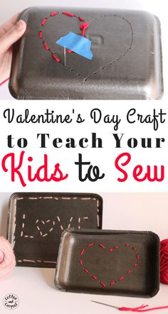 Beginning Sewing Craft for Kids with this super cute and simple Valentine's Day craft for kids. #beginningsewing #kidscraft #Valentinesday #Valentinesdaycraft #kidssewingcraft