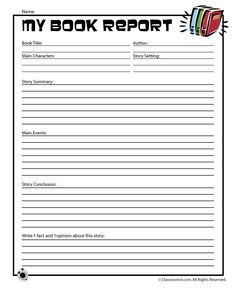 Printable Book Report Forms Easy Book Report Form for Young Readers – Classroom Jr.                                                                                                                                                                                 More