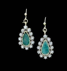 A pair of early Century foil back, rose cut diamond earrings with two pear shaped emeralds. Diamond Earrings, Drop Earrings, Antique Jewellery, Rose Cut Diamond, Pear Shaped, Turquoise Necklace, Emerald, Pairs, Antiques