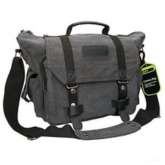 Evecase Large Canvas Messenger DSLR Digital Camera Travel Bag w/Rain Cover, Tablet/Laptop Compartment, Removal Padded Insert and Shoulder Strap - Gray