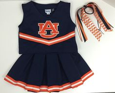 Auburn Cheerleader Outfit 3 Pieces Shirt Skirt Bow Size 3T Costume War Eagle | eBay