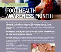 Read more about Foot Health Awareness Month in our April 2014 newsletter! Health Awareness Months, Podiatry, Youre Not Alone, It Hurts, Medical, Medicine, Med School, Active Ingredient