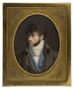 Miniature Portrait Regency male. 1805. I have to say that is one serious cravat. Beau Brummell would be proud.