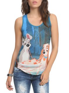 Disney Lady And The Tramp Girls Tank Top | Hot Topic - OMG I need one of these! That's my favorite Disney movie!!!!