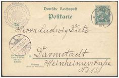 Germany, German Empire, Deutsches Reich 1901, 5 Pfg.-GA-Postkarte, von Jonsdorf/Sachsen nach Darmstadt, von dort nach Sachsen zurückgeleitet (Mi.-Nr.P 56). Price Estimate (8/2016): 15 EUR. Unsold.