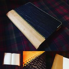 """Handmade leather journal cover made from gator embossed  and deer tanned leather, hand stitched with artificial sinew. Includes a removable 192 page journal and measures approximately 6 1/2"""" x 9 1/2"""" (17cm x 24cm)  #handmadeleather #leatherjournal #journalcover #deertannedcowhide #gatorembossedleather #customleather #artificialsinew #handstitched #handfinished #leather #etsyseller #etsysellersofinstagram #madeincanada #highlandhordeoutdoors"""