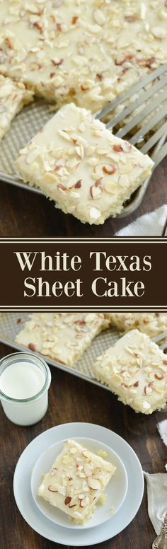 White Texas Almond Sheet Cake Dessert Recipe via The Novice Chef - This perfect buttery cake only takes 30 minutes from start to finish! The Best EASY Sheet Cakes Recipes - Simple and Quick Party Crowds Desserts for Holidays, Special Occasions and Family Celebrations