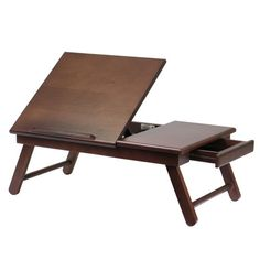 Winsome Alden Flip Top Lap Desk With Drawer And Foldable Legs