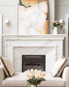 Quartz – not just for your countertops! Granite Fireplace, Marble Fireplace Surround, Marble Fireplaces, Fireplace Surrounds, Stone Fireplaces, Brick Fireplace Makeover, Fireplace Remodel, Fireplace Mantle, Fireplace Design